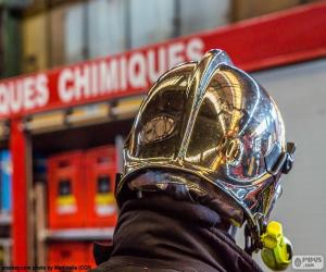 Chrome-plated firefighter helmet puzzle