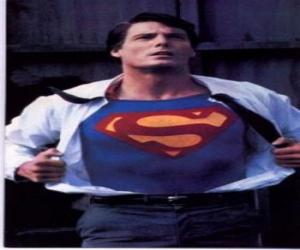 Clark Kent becoming Superman with his red and blue uniform to fight for justice puzzle