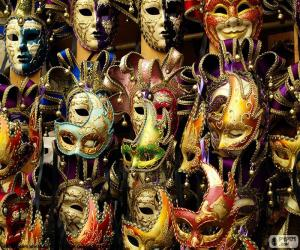 Classic carnival masks puzzle