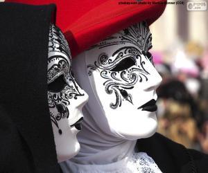 Classic white Venetian masks puzzle