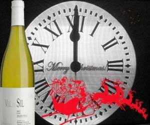 Clock at 12 o'clock at night, a bottle of wine and a Santa's sleigh puzzle