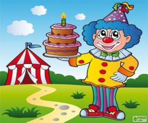 Clown with an anniversary cake puzzle