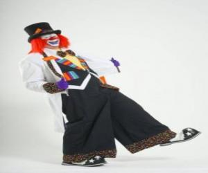 Clown with full clown costume, a hat, wig, gloves, tie, big pants and big shoes puzzle