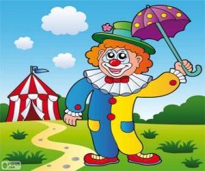 Clown with umbrella puzzle