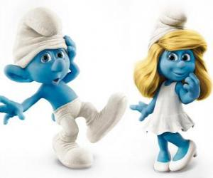 Clumsy Smurf and Smurfette, Characters in the movie The Smurfs puzzle