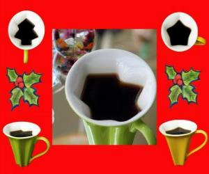 coffee mugs, Christmas shapes puzzle