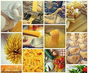 Collage of pasta puzzle