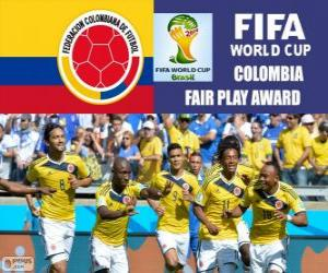 Colombia, Fair Play award. Brazil 2014 Football World Cup puzzle