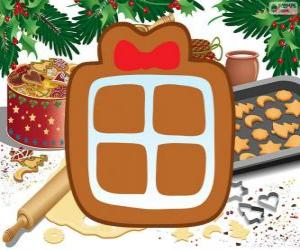 Cookie with the shape of a Christmas present puzzle