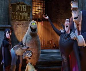 Count Dracula at the door of the hotel with his friends puzzle