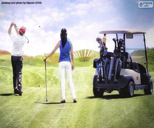 Couple playing golf puzzle