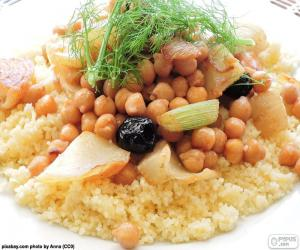 Couscous with chickpeas and vegetables puzzle