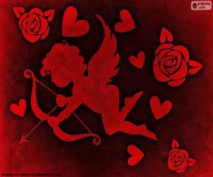 Cupid, hearts and roses puzzle