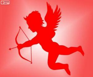 Cupid with bow and arrow puzzle & printable jigsaw