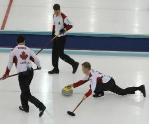Curling is a precision sport similar to bowls or bocce English, performed in an ice rink. puzzle