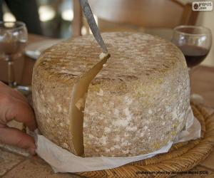 Cutting a sheep cheese puzzle