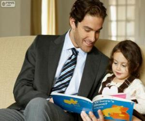 Dad helping reading to his daughter puzzle