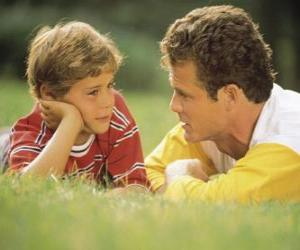 Dad talking to his son in the park puzzle