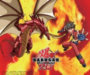 Dan Kuso and his Bakugan Pyrus Drago guardian puzzle