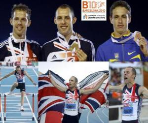 David Greene 400m hurdles champion, Rhys Williams and Stanislav Melnykov (2nd and 3rd) of the European Athletics Championships Barcelona 2010 puzzle