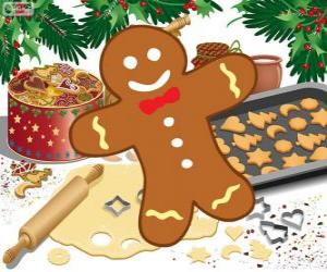 Decorated Gingerbread man cookie puzzle