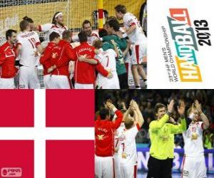 Denmark at handball 2013 World Cup silver medal puzzle