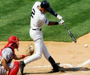 Derek Jeter (batter) and catcher ready for launch puzzle