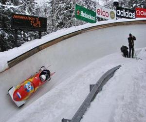 Descending in a bobsleigh or bobsled two-crew puzzle