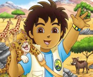 Diego and Baby Jaguar help the animals in danger in the serie Go, Diego, Go! puzzle