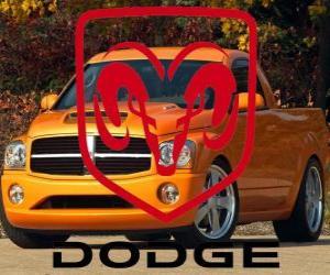 Dodge logo, American automobile brand puzzle