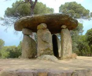 Dolmen, Neolithic stone construction in the form of large stone table puzzle