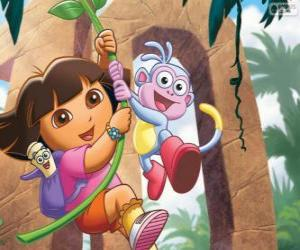 Dora and Boots in one of his adventures puzzle
