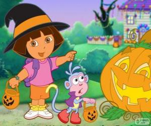 Dora and Boots the monkey celebrate Halloween puzzle