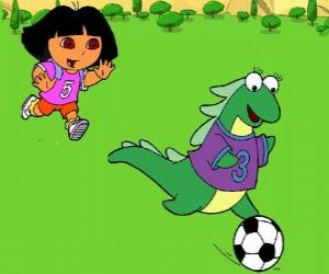 Dora playing soccer with her friend Isa the iguana puzzle