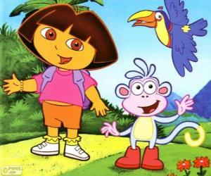 Dora the Explorer and her monkey friend Boots puzzle