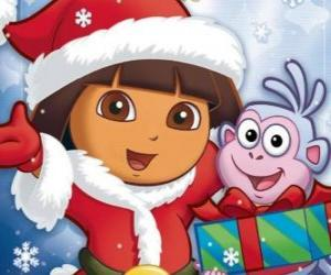 Dora the explorer wishes you happy holidays Christmas puzzle