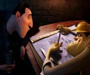 Dracula reviewing the plans of the Hotel Transylvania puzzle