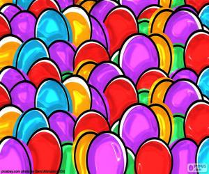 Drawing of Easter eggs puzzle