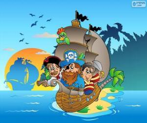 Drawing of pirate ship puzzle