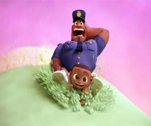 Earl Devereaux, the policeman and his son Cal on a scoop of ice cream puzzle