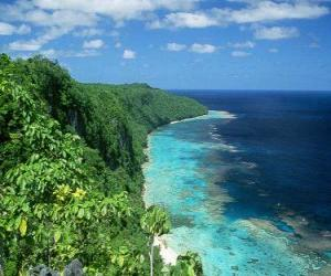 East Rennell is the coral atoll of the world's largest high. Solomon Islands. puzzle
