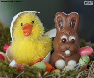 Easter Chick and rabbit puzzle