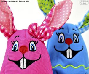 Easter rabbits of cloth puzzle