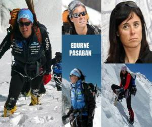 Edurne Pasaban is a Spanish mountaineer and the first woman in history to ascend to the 14 eight thousand (mountains over 8000 meters) from the planet. puzzle