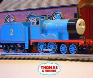 Edward, the blue engine has the number 2 puzzle