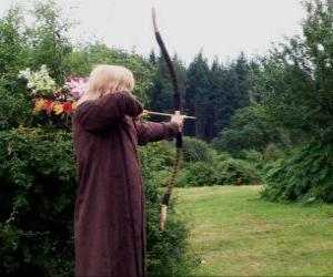 Elf hunter armed with bow and arrow ready to shoot puzzle