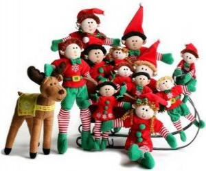 Elfs family with his reindeer puzzle