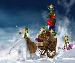 Elves helping Santa Claus deliver Christmas gifts puzzle