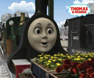Emily, the emerald green locomotive is the newest member of the team of the steam locomotives puzzle