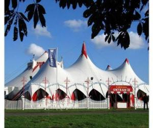 Exterior view of a circus tent or the big top ready for the function or performance puzzle